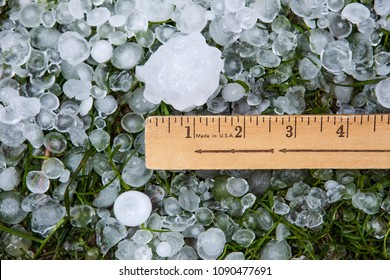 Hail in grass after hailstorm with ruler