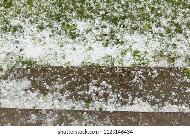 Hail - Summer Storm Disaster. Ice bals fall and make damage on agriculture and property