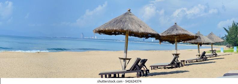 Hainan, China - August, 21 - 2014: Panorama of Haitan bay beach near the hotel Renaissance Sanya Resort & Spa 5*.