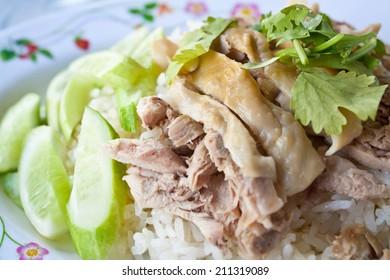 Hainanese Chicken Rice Dish - Thai Fast Food