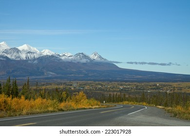 Haines Highway leading down to Haines Junction, Yukon, Canada