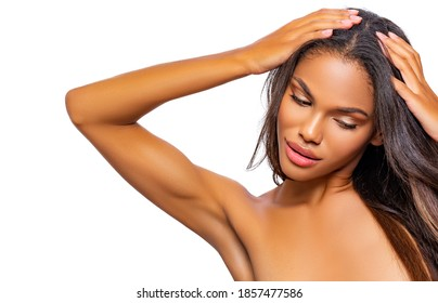 Hair. Beauty and Care.  Black Woman and her damaged Hair. Isolated