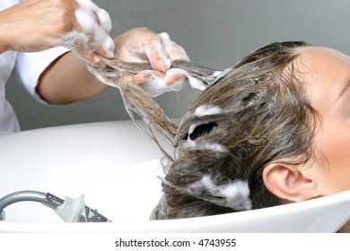 Hair beauty care, wash with shampoo