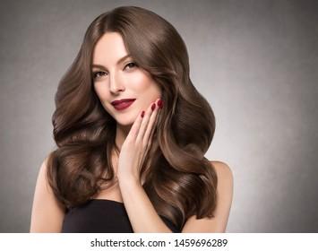 Hair beauty woman portrait beautiful makeup natural brunette