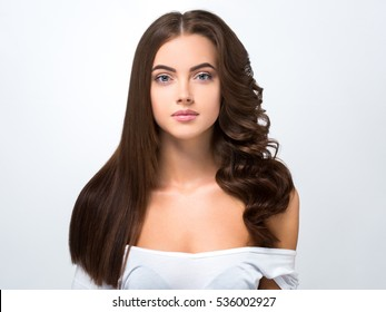 Hair befor after advertising. Hairstyle smooth and curly half-head