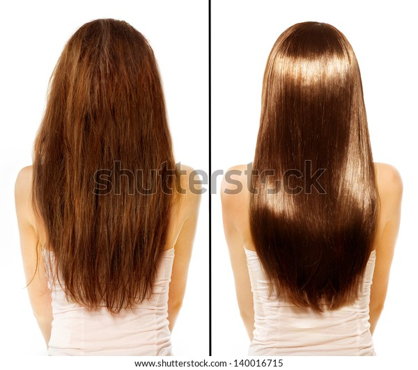 Hair Before After Advertising Portrait Hairstyle Stock Photo ...