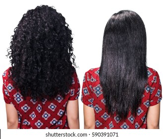Hair before and after straightening