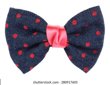 Hair bow tie blue with pink dots