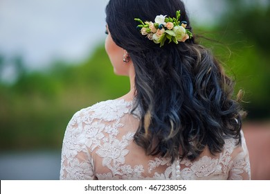 Hair of bride with flowers