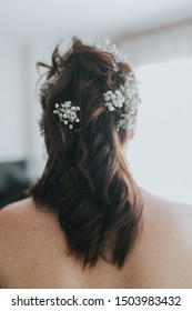 The hair of a bride on her back