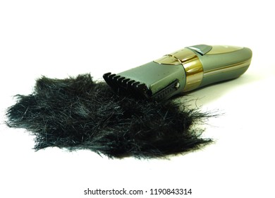 Hair cipper and hair black coler on white background.