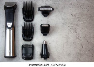 Hair clipper. Barbershop. Hair clipper on gray background.