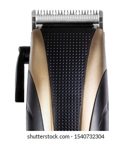 Hair clipper isolated on white trimming blades closeup