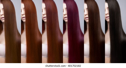 Hair Collection, shades, set of six colors. Girl with straight hair