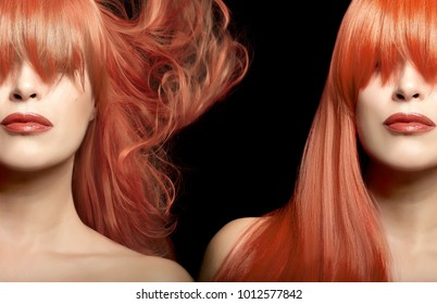 Hair color and beauty concept witha a stunning young woman with a flawless complexion, bright coppery lips and long dyed hair with highlights shown as two cropped views with different looks