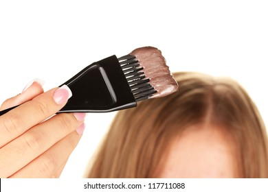hair coloring, on white background