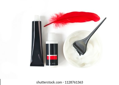 Hair coloring set on white background