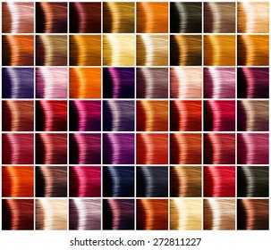 Hair Colors palette. Hair colours set. Tints. Dyed Hair Color Samples
