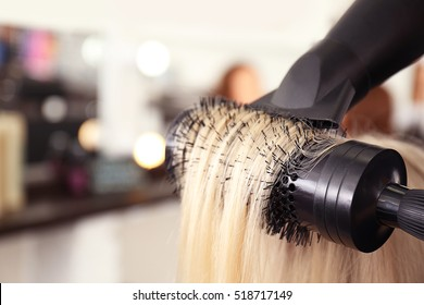 Hair drying at salon, closeup