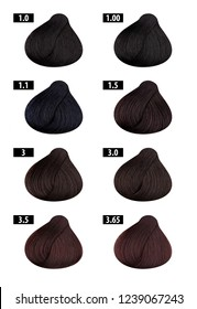 Hair dye, colours chart, colour numbers 1