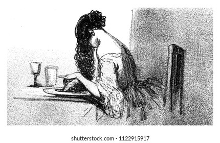 Hair in the English, vintage engraved illustration. From The Tortures of Fashion.