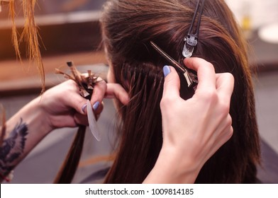 hair extension in a professional beauty salon.Barbershop