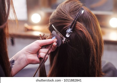 hair extension in a professional hairdresser