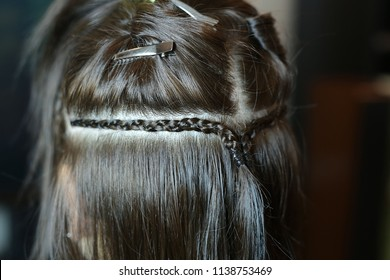 hair extensions, a series of photos before and after, the work o