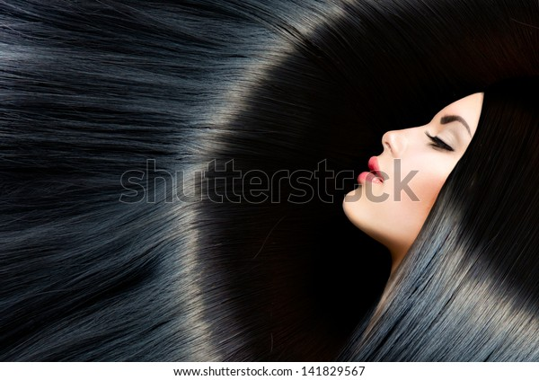 Hair. Healthy Long Black Hair. Beauty Brunette Woman. Gorgeous Hair