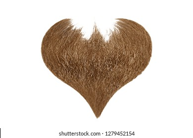 Hair heart. Brown beard isolated on white background