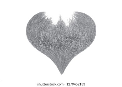 Hair heart. Gray beard isolated on white background