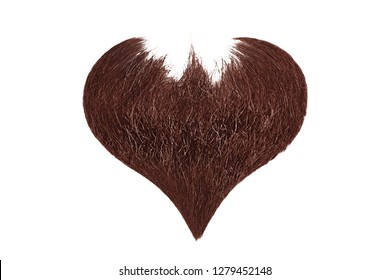 Hair heart. Henna beard isolated on white background