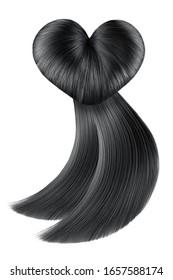 Hair heart on white, isolated. Black doughnut bun