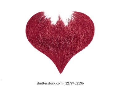 Hair heart. Pink beard isolated on white background