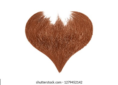 Hair heart. Red beard isolated on white background
