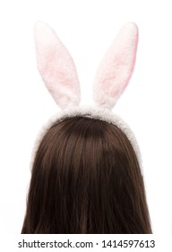 Hair hoop in shape of rabbit ears on mannequin head isolated on white background