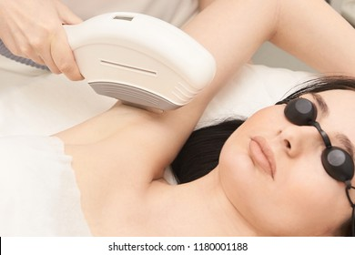 Hair laser removal service. IPL cosmetology device. Professional apparatus. Woman soft skin care.armpit