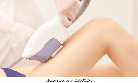 Hair laser removal service. IPL cosmetology device. Professional apparatus. Woman soft skin care.leg