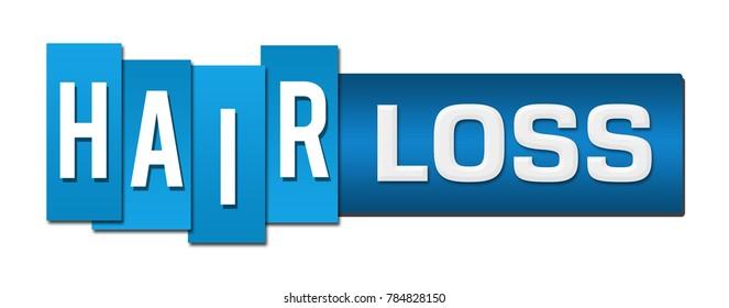 Hair loss text written over blue background.