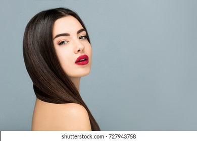 Hair and make up, Beauty portrait girl sensual red lips,copy space border,Hairdresser salon