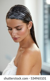 Hair Masks. Sexy Female Model With Applied Natural Hair Mask Or Hair Dye. Hair Care, Beauty Concept. High Resolution Image