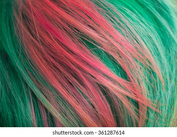 Hair with multi-coloured strand . macro shoot