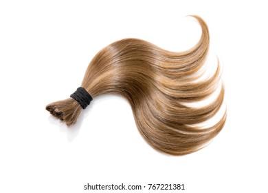 Hair on white. Ponytail