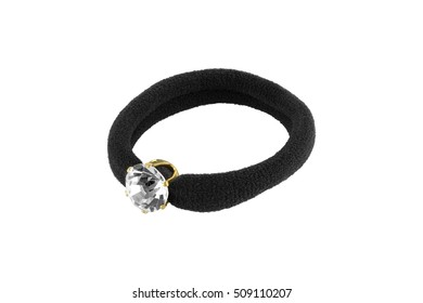 Hair rubber black scrunchy with one big precious stone, isolated on transparent or white background
