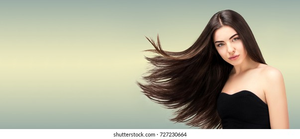 Hair salon. Beauty Fashion Model Woman  Long Banner,Healthy Brown Hair looking at camera. Hairdresser,hairstyle concept