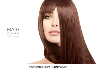 Hair salon concept. Beautiful model girl with shiny and healthy straight hair. Straightening treatment. Care and hair products. Close up beauty portrait isolated on white with copy space