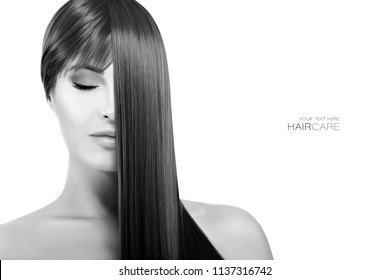 Hair salon concept. Beautiful model girl with gorgeous long brown healthy hair. Keratin Straightening Treatment. Care and hair products. Monochrome beauty portrait