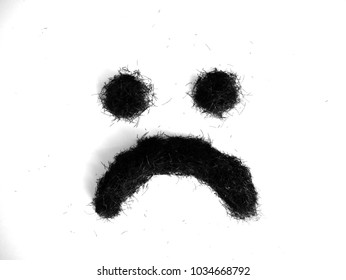 Hair Scrap frown on white background