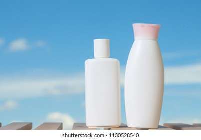 Hair Shampoo , Hair conditioner and Cream bath of body care and beauty product.