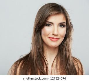 Hair style fashion woman face close up portrait .